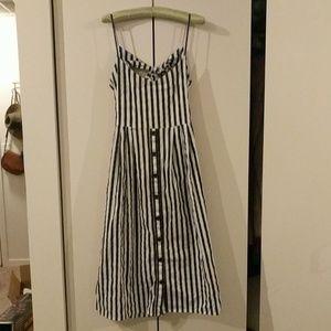 Mango Stripe Button Front Dress